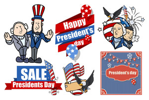 American Presidents Day Vector Set