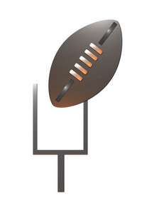 American Rugby Football And Goal Post