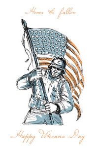 American Soldier Happy Veterans Day Greeting Card
