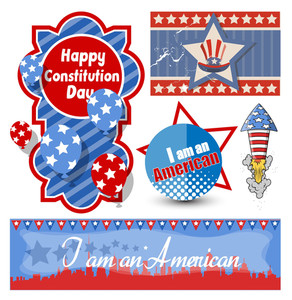 American Themed Constitution Day Design Vectors