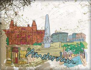 Amsterdam Doodles Vector Illustration