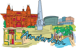 Amsterdam Vector Doodle