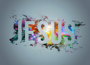 An abstract word art illustration of Jesus.