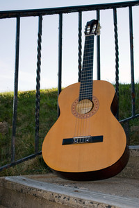 An acoustic guitar leaning up against a railing outdoors.