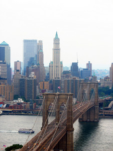 An aerial shot of the Brooklyn Bridge in New York City.