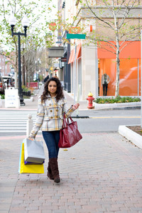 An attractive girl carrying a purse and shopping bags while enjoying a day in the city.