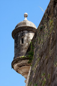 An El Morro fort watch tower located in Old San Juan Puerto Rico.
