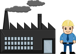 An Engineer Standing Outside A Factory - Vector