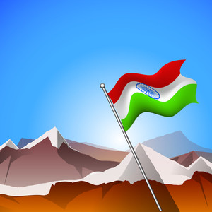 An Indian Flag At Mountains.