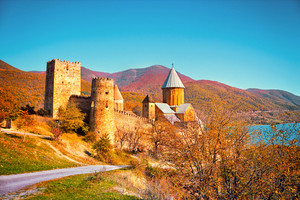 Ancient Fortress Ananuri in Georgia country