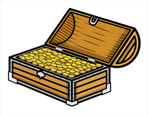 Ancient Gold Coin Filled Box - Cartoon Vector Illustration