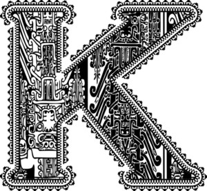 Ancient Letter K. Vector Illustration