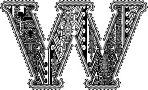 Ancient Letter W. Vector Illustration