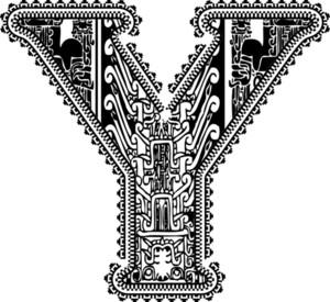 Ancient Letter Y. Vector Illustration