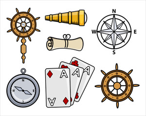 Ancient Ship Icons - Cartoon Vector Illustration