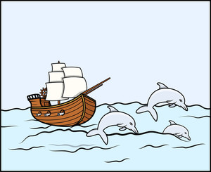 Ancient Ship With Dolphins - Vector Illustration