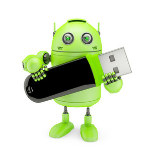 Android Holding Usb Flash Drive.