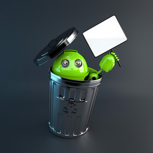 Android Inside Trash Bin. Electronic Recycle Concept