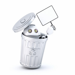 Android Robot Inside Recycle Bin
