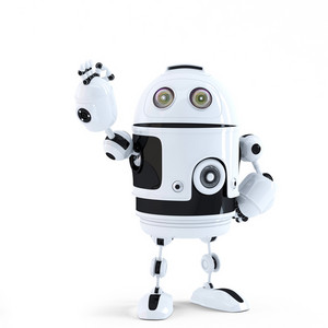 Android Robot Showing Ok Sign. Technology Concept