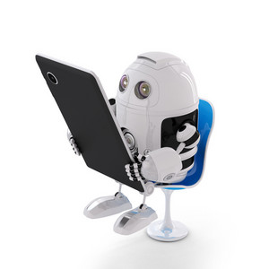 Android Robot Sitting With A Tablet Computer