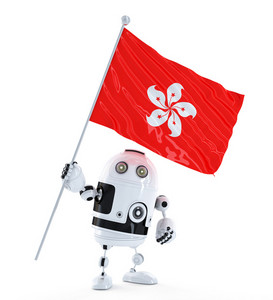 Android Robot Standing With Flag Of Hong Kong.