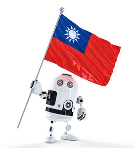 Android Robot Standing With Flag Of Taiwan. Isolated Over White