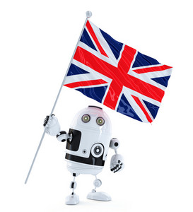 Android Robot Standing With Flag Of Uk. Isolated Over White