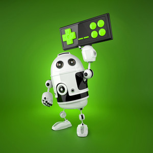 Android Robot With A Wireless Gamepad