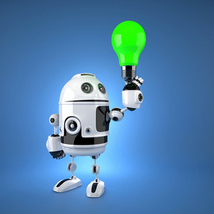 Android Robot With Green Light Bulb