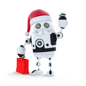 Android Robot With Santa Hat And A Shopping Bag