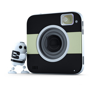 Android Robot With Squared Digital Camera