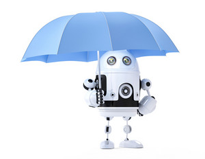 Android Robot With Umbrella. Security Concept
