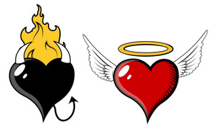 Angel And Evil Heart - Vector Illustration