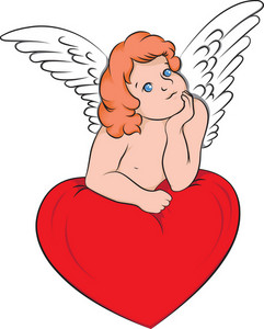 Angel Vector Element With Heart