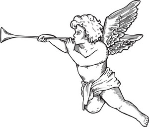 Angel Vector Element With Trumpet