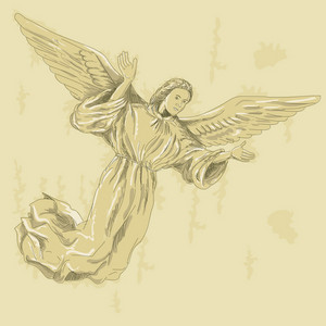 Angel With Arms Spread Wearing A Surplice