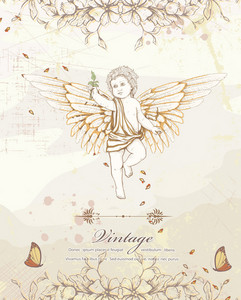 Angel With Floral Vector Illustration