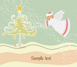 Angel With Tree Vector Illustration