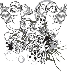 Angels With Floral Vector T-shirt Design