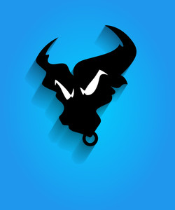 Angry Bull Face Silhouette Mascot
