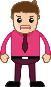 Angry Businessman - Business Cartoon Character Vector