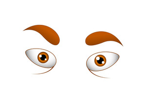Angry Cartoon Eyes Vector Illustration