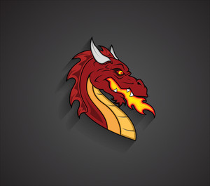 Angry Dragon Face Expression Mascot