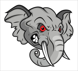 Angry Elephant Vector Mascot Illustration