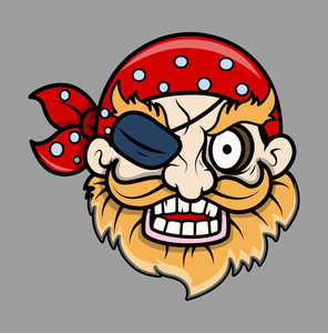 Angry Eye Patched Pirate Man - Vector Cartoon Illustration