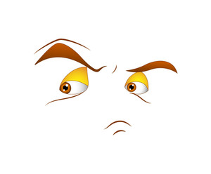 Angry Face Expression Cartoon Vector
