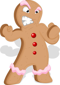 Angry Gingerbread Man - Christmas Vector Illustration