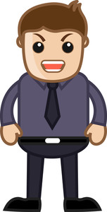 Angry Man - Office Corporate Cartoon People