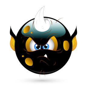 Angry Monster Smiley With Horn Vector